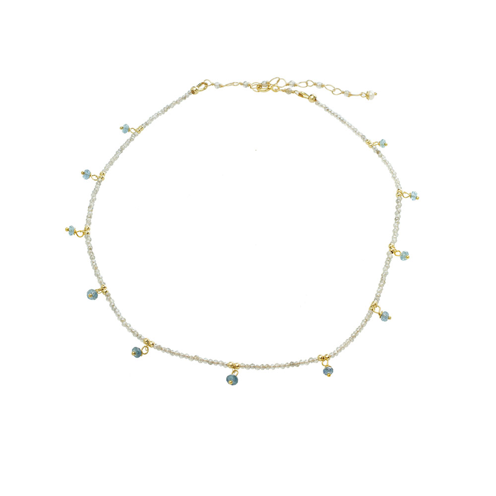 MTJ-CDN-003 - Aquamarine Beaded Collar Necklace