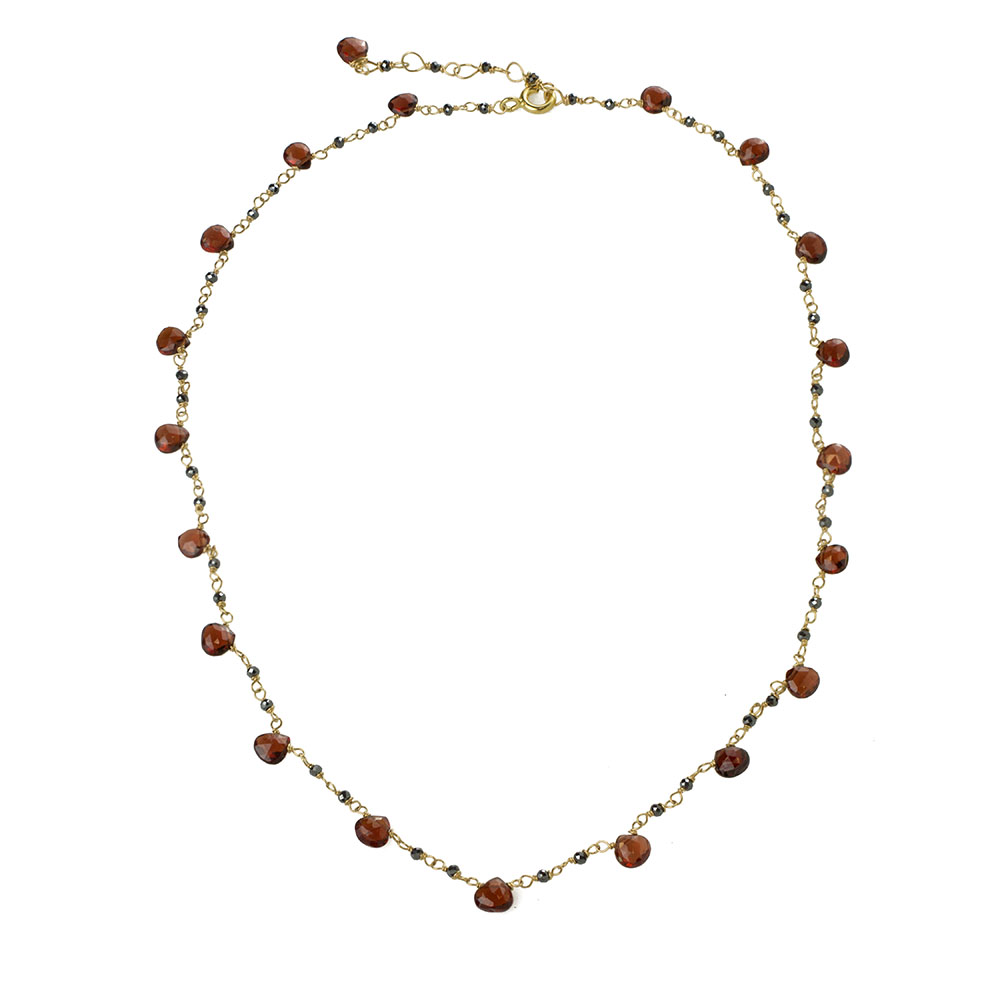 MTJ-CDN-004 - Black Garnet Beaded Necklace with Red Garnet Gem Drops