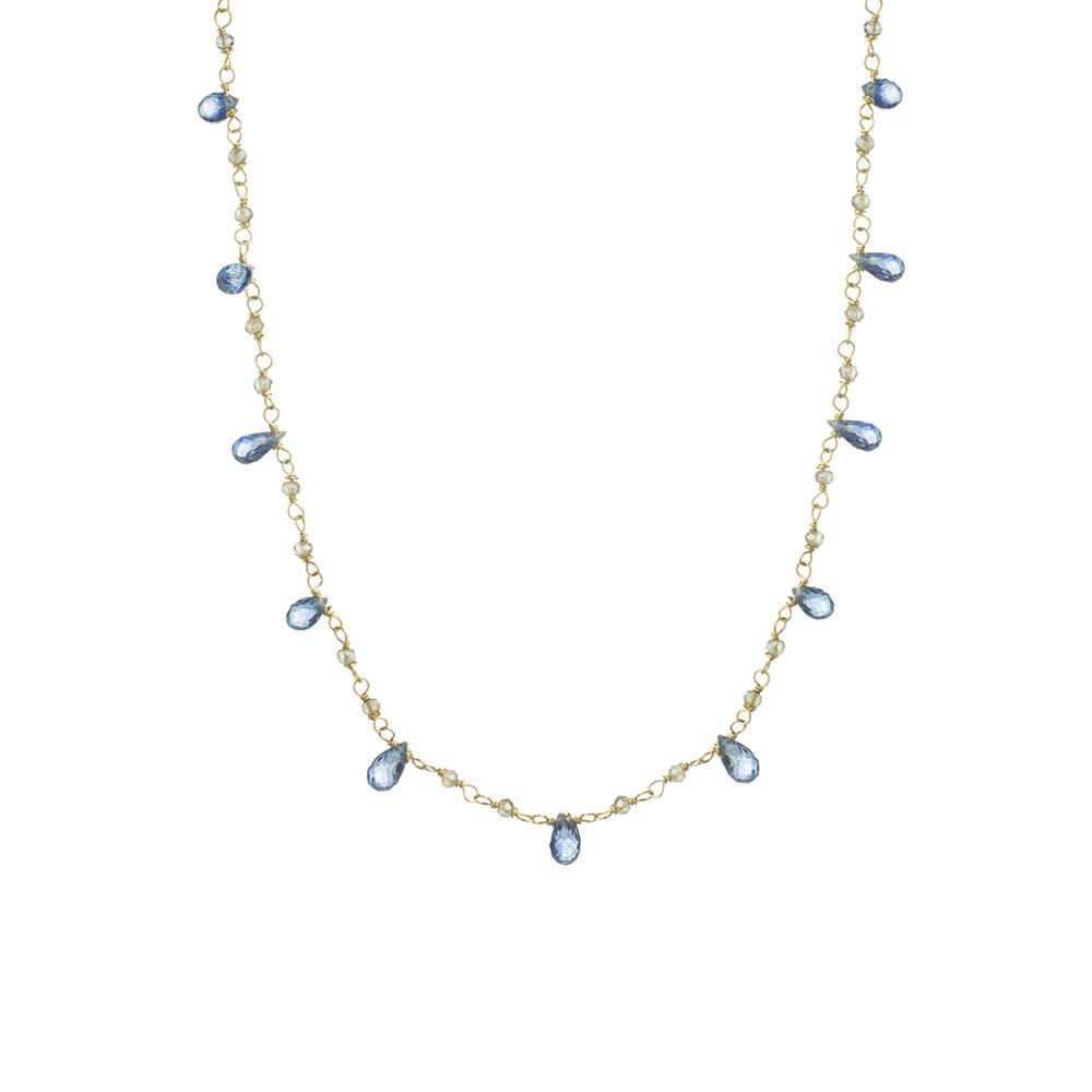 MTJ-CDN-005 - Labradorite Beaded Necklace with Kyanite Drops