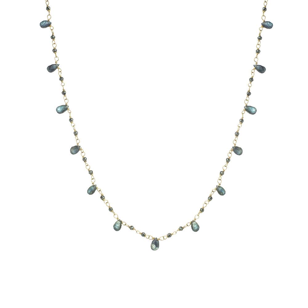 MTJ-CDN-006 - Black Garnet Beaded Necklace with Blue Sapphire Gemdrops