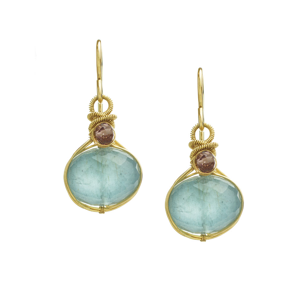 MTJ-E-0014 - Aquamarine Drop Pink Sapphire Accent Earrings