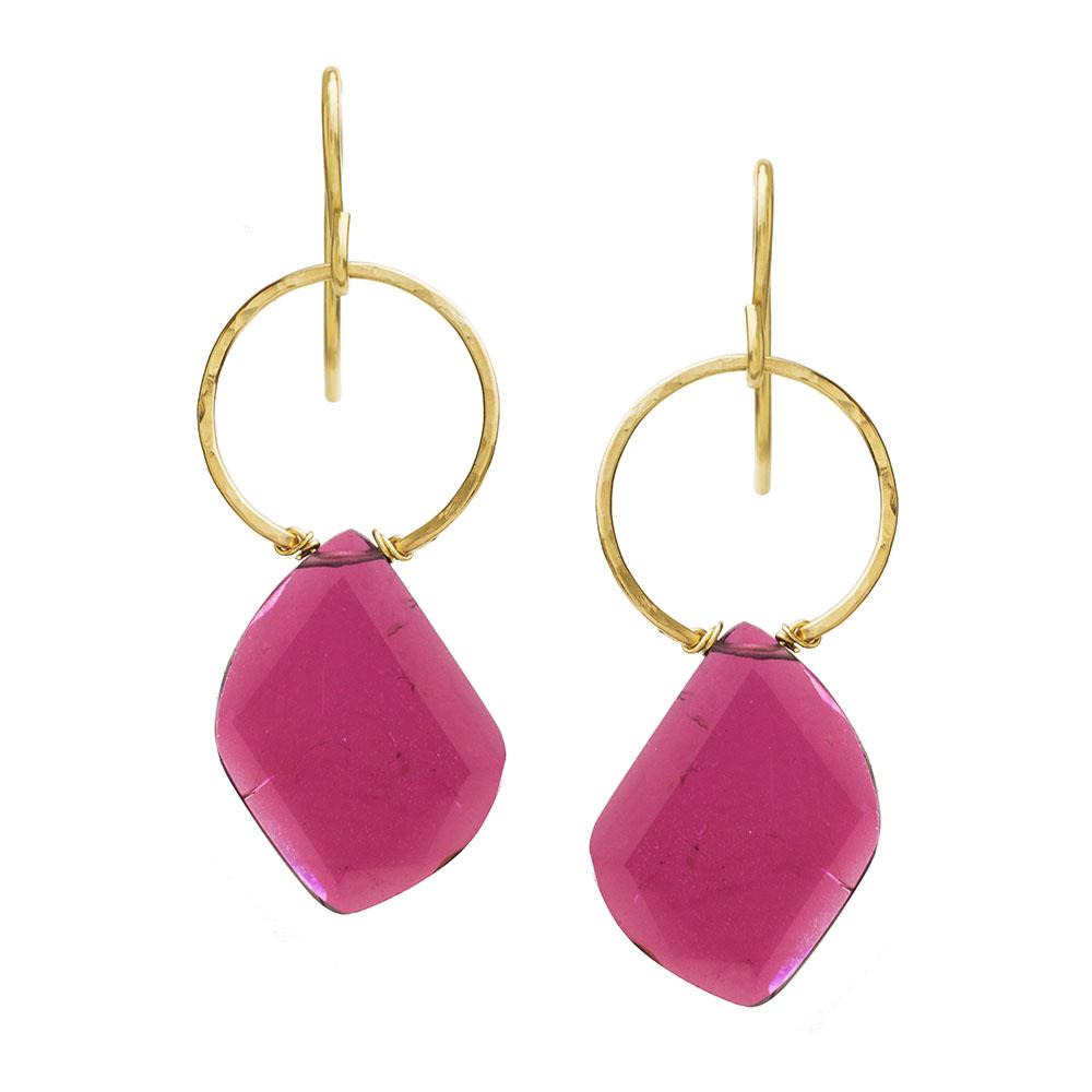 MTJ-E-0015 - Pink Tourmaline Sliced Earrings