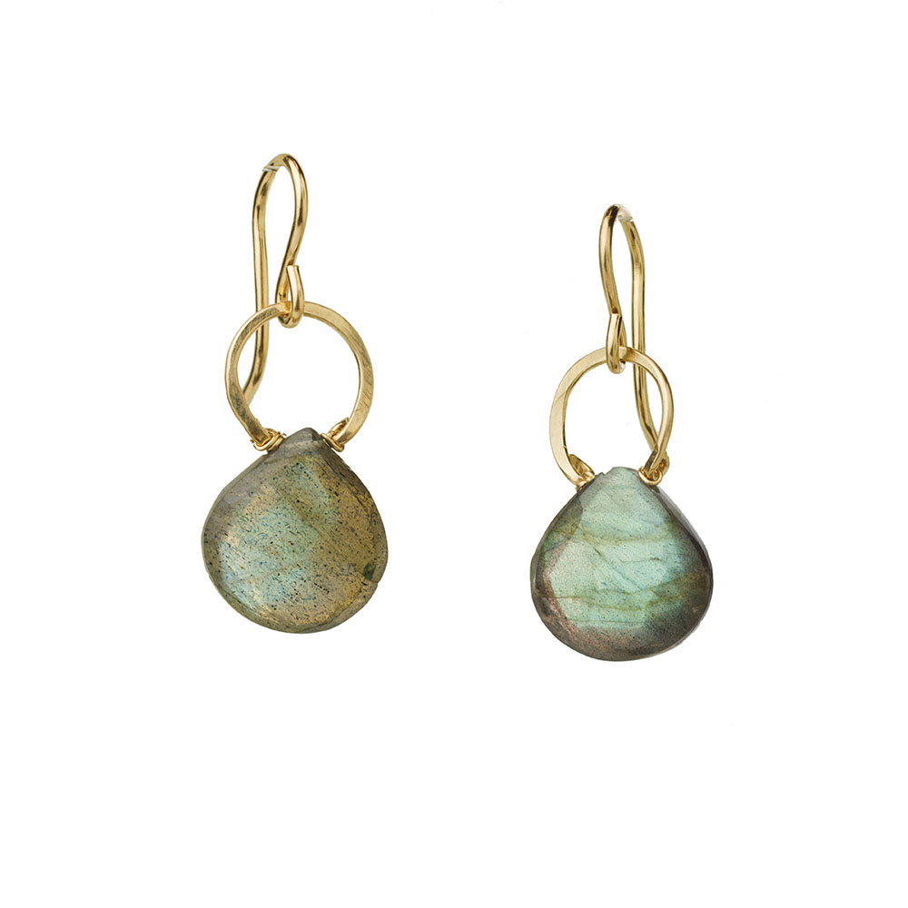 MTJ-E-0017 - Labradorite with Handforged Wire Earrings