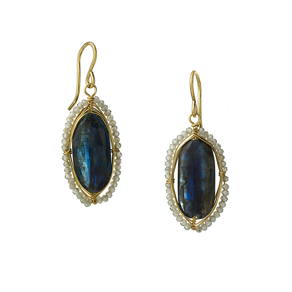 MTJ-E-0018 - Kyanite Sliced Earrings with Labrdorite Bezel