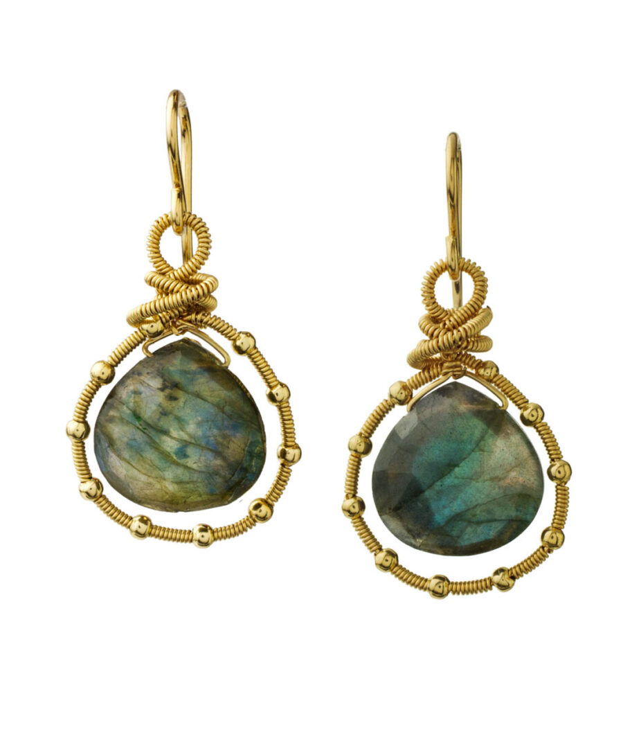 MTJ-E-005 - Coil Studded Labradorite Earrings
