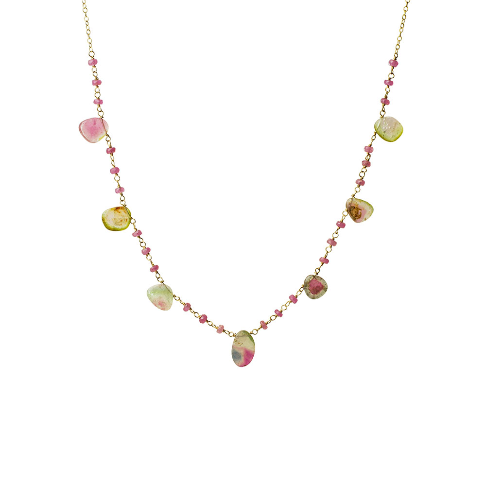 MTJ-N-001 - Pink Sapphire Beaded Necklace with Watermelon Tourmaline Gem Drops