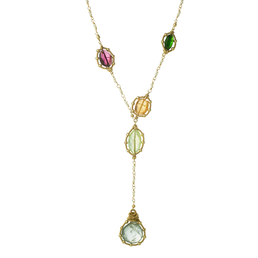 MTJ-N-002 - Pearl Beaded Necklace with Coiled Studded Gemstones