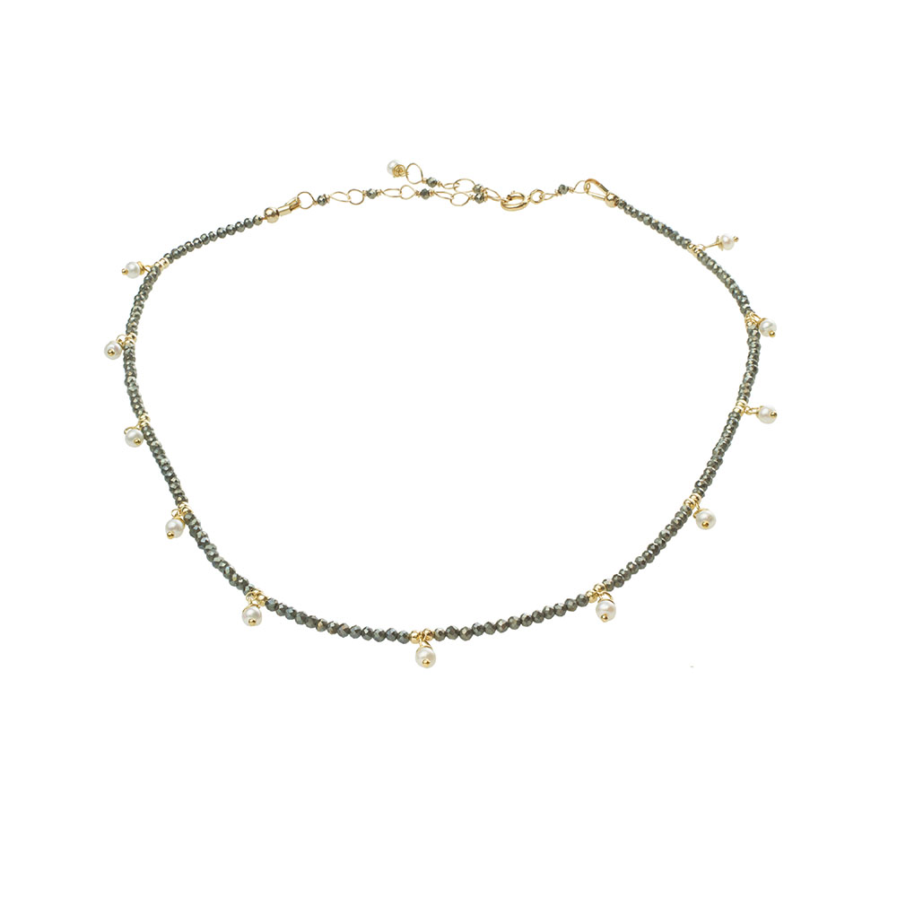 MTJ-PN-001 - Pyrite Beaded Collar with Pearl Drops