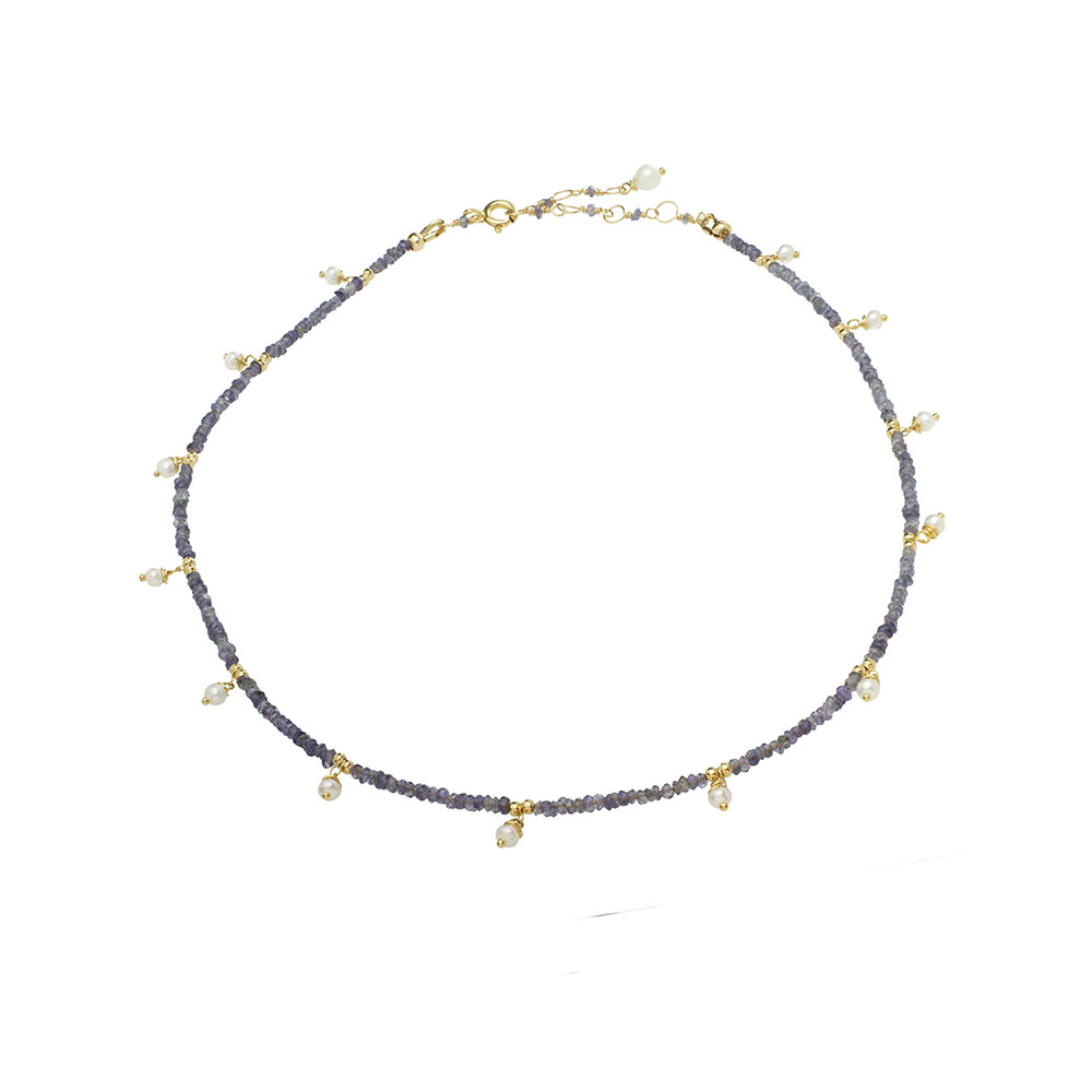 MTJ-PN-002 - Iolite Beaded Necklaces with Pearl Drops