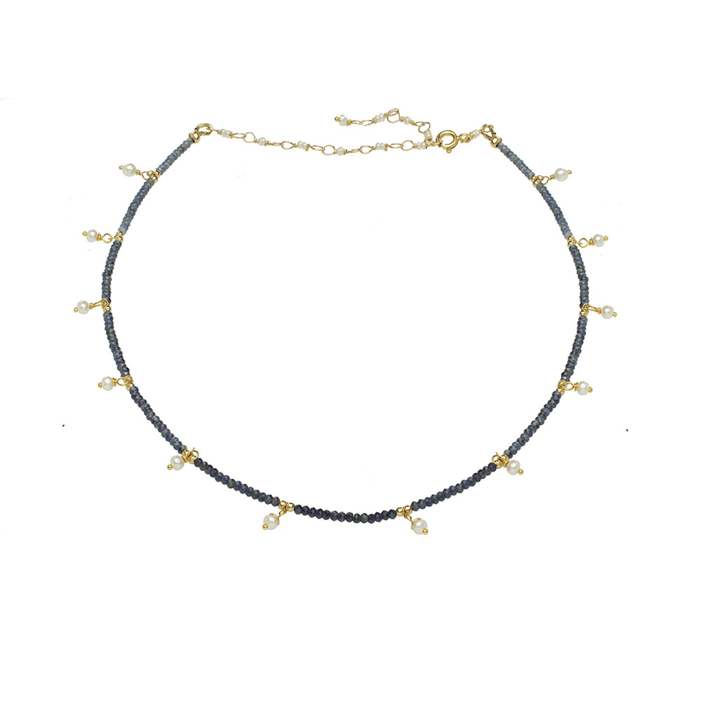 MTJ-PN-004 - Blue Saphire Beaded Collar