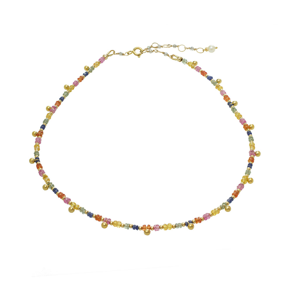 MTJ-RN-001 - Multi Sapphire Beaded Collar with 14k Gold Filled Beads and Gold Bead Drops