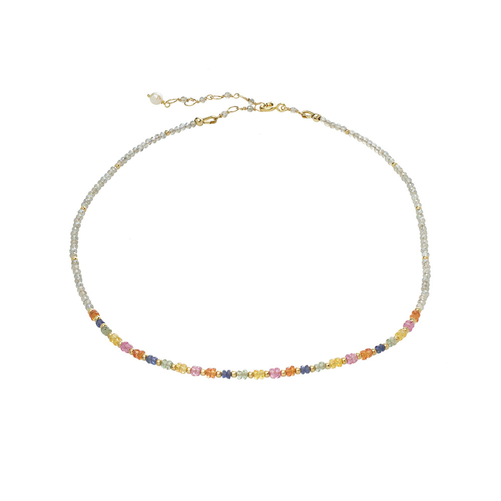 MTJ-RN-002 - Labradorite Beaded Collar with Multi Sapphire Accents