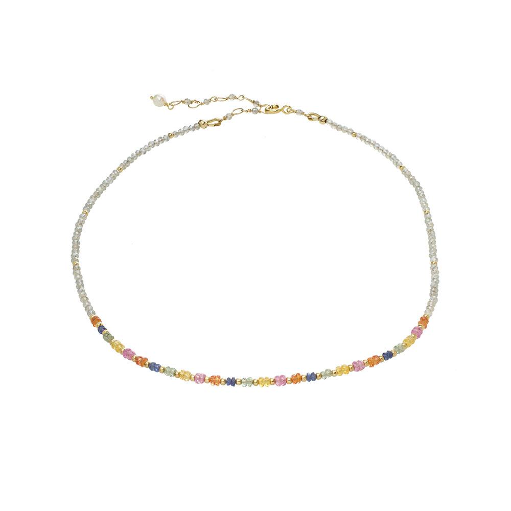 MTJ-RN-002 - Labradorite Beaded Collar with Multi Sapphire Accents