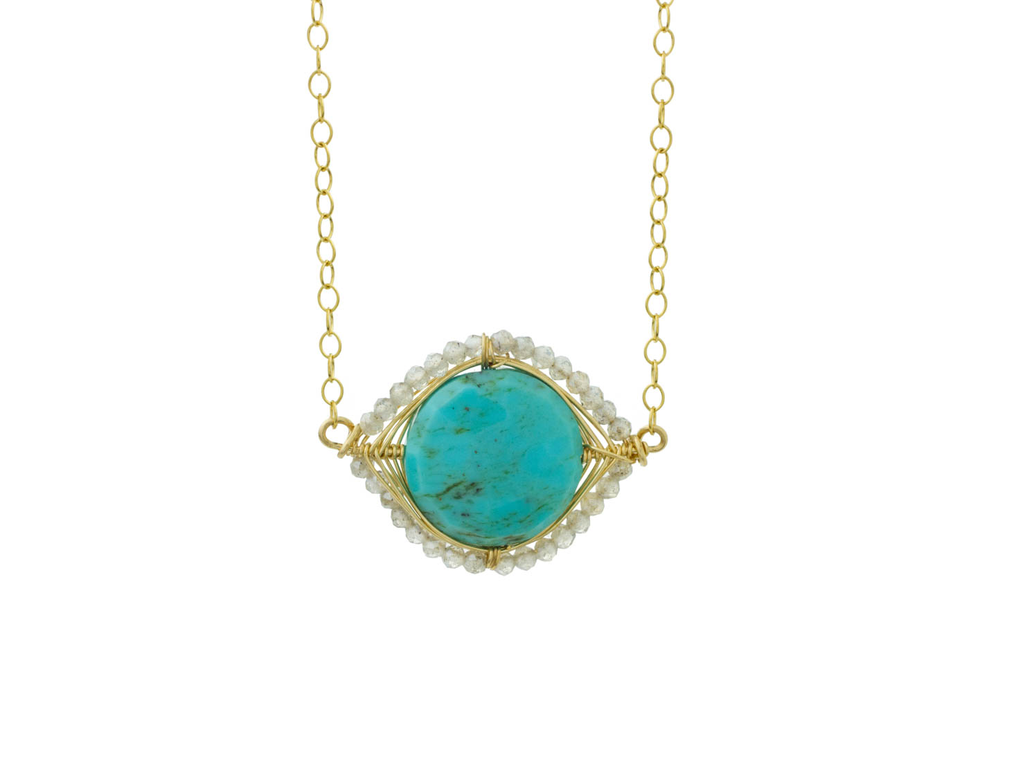 MTJ-SN-005 - Turquoise Gem Slice Necklace