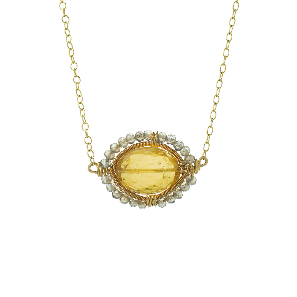 MTJ-SN-006 - Imperial Topaz Gem Slice Necklace