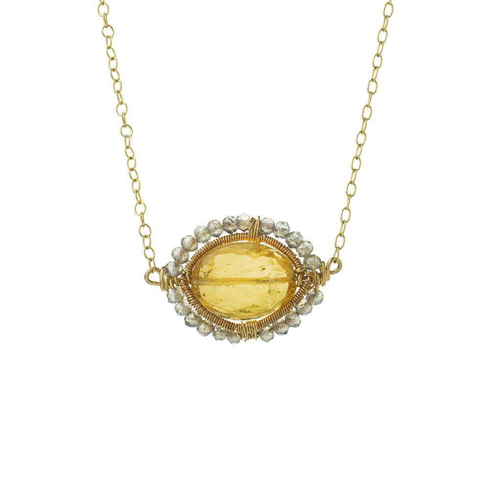 MTJ-SN-006 - Imperial Topaz Gem Slice Necklace