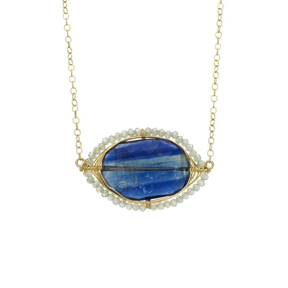 MTJ-SN-007 - Kyanite Gem Slice Necklace