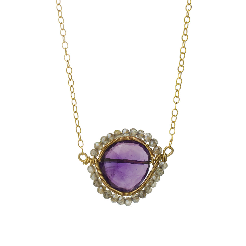 MTJ-SN-008 - Amethyst Gem Slice Necklace