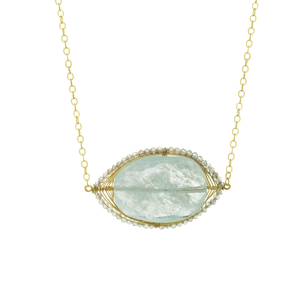 MTJ-SN-009 - Aquamarine Gem Slice Necklace