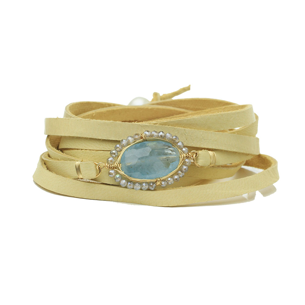 MTJ-WW-001 - Warrior Wrap with Aquamarine Gem
